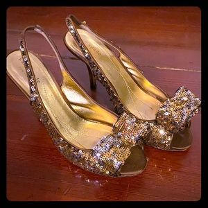 Kate Spade Gold Sequin Kitten Heels